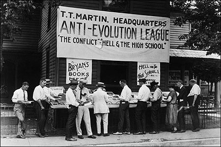 Anti-Evolution protestors at Scopes Monkey Trial